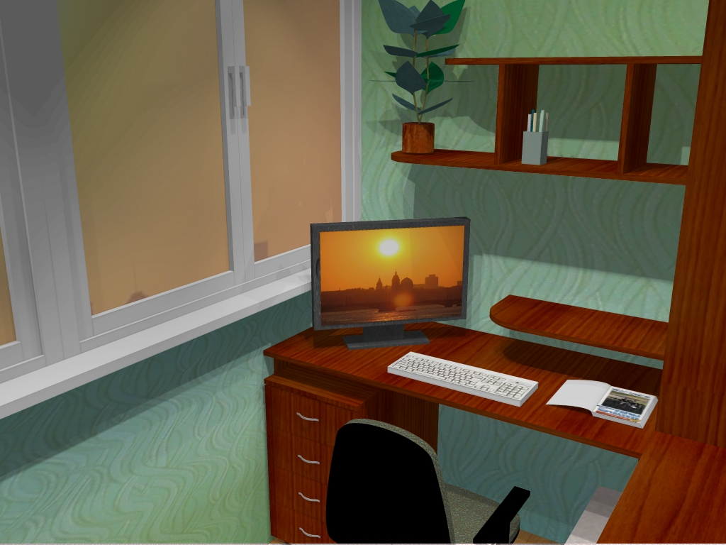 Кабинет на балконе: переделка помещения в рабочее место.