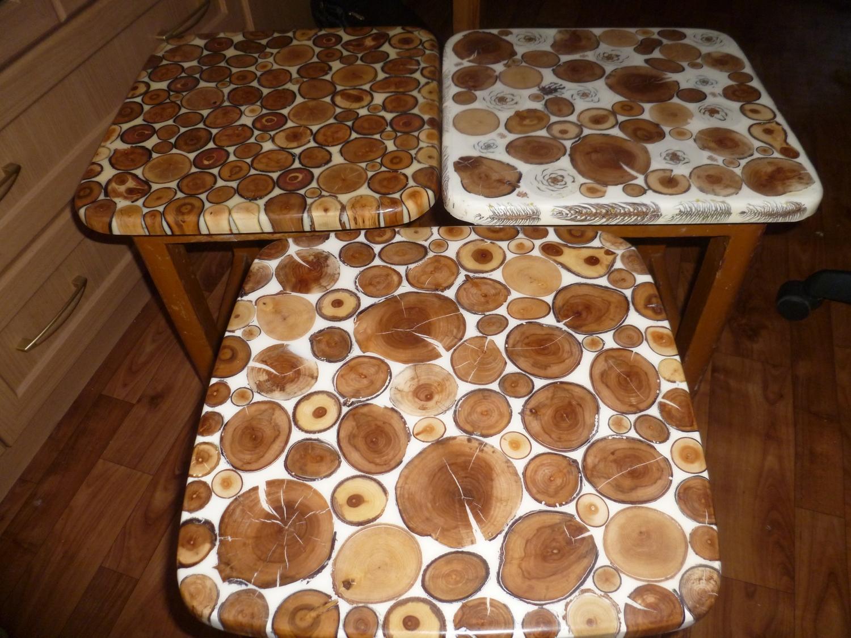 Как сделать стол из спилов дерева фото