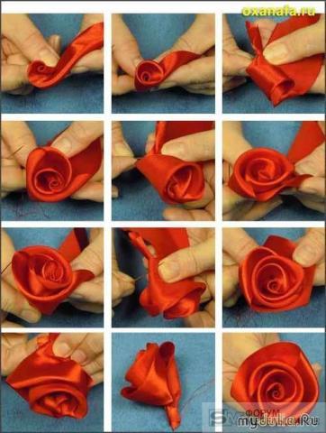 Роза из атласных ленточек