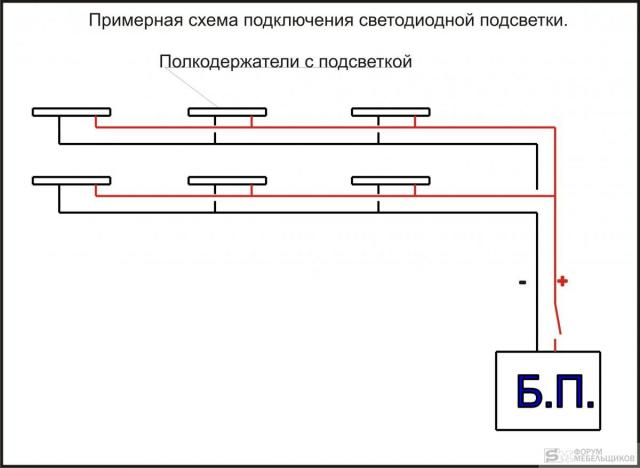 Схема подключения светодиодной подсветки к выключателю