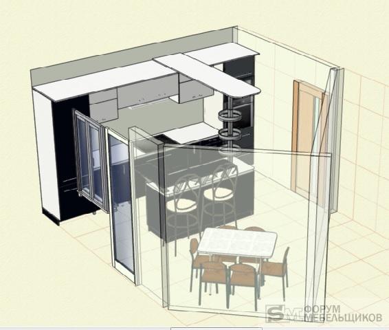 Дизайн кухни неправильной формы